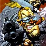 Guns and a cigar|Drawn by Simon Bisley|Misc|guns,cigar,1993